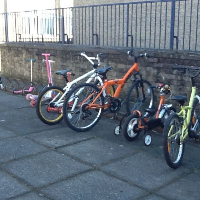 A few more bikes bringing the total number of children who cycled or scooted to school to 14!